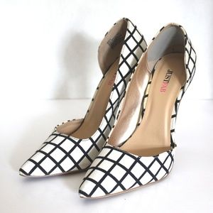 JUSTFAB Checkered Pointed Toe Stiletto Pumps L6